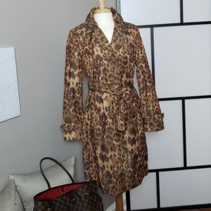 Kenneth Cole Reaction leopard print trench coat
